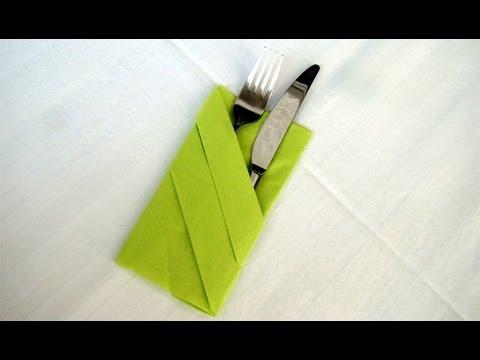 Servietten falten: Bestecktasche Falten - Einfache Tischdeko z.B. Hochzeit