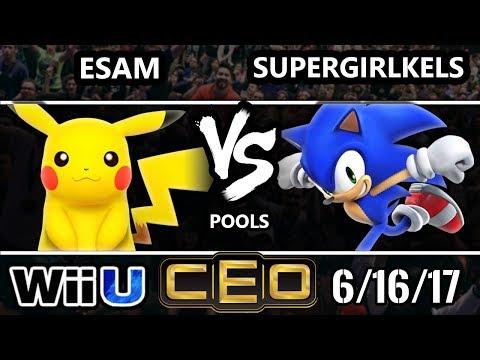 CEO 2017 Smash 4 - PG | ESAM (Pikachu) vs BOT | SuperGirlKels (Sonic) Wii U Tournament