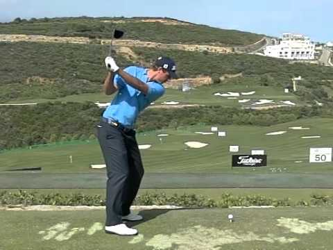 Nicolas Colsaerts – Golf Swing Driver in High Speed, Slow Motion (Down the line)