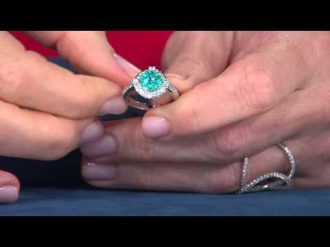 Diamonique Simulated Apatite Halo Ring, Sterling with Jennifer Coffey