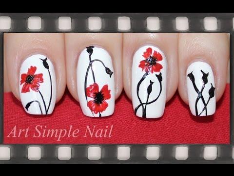 Как нарисовать цветок акриловыми красками на ногтях пошагово