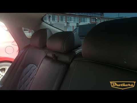 """Чехлы на Kia Optima 4, серии """"Premium"""" с ромбами - серая строчка"""