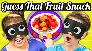"Kids try fruit snacks! Watch all People Vs Food Eps! http://goo.gl/KjLw5C SUBSCRIBE THEN HIT THE 🔔! New Videos 12pm PST on REACT! https://goo.gl/7SnCnCWatch latest videos from FBE! https://goo.gl/aU5PSmKids try fruit snacks! What will their reaction be?! Stay tuned for more People vs. Food, here on the REACT channel.This episode features the following Kids: Dominick, age 9Jacob, age 10https://www.instagram.com/jake_kr_official/Jaxon, age 13https://www.instagram.com/jaxonhh/Katrina, age 9Kelis, age 11Max, age 8Sydney, age 9https://www.instagram.com/sydneybergerson/Tida, age 7Follow Fine Brothers Entertainment:FBE WEBSITE: http://www.finebrosent.comFBE CHANNEL: http://www.youtube.com/FBEREACT CHANNEL: http://www.youtube.com/REACTBONUS CHANNEL: https://www.youtube.com/FBE2FACEBOOK: http://www.facebook.com/FineBrosTWITTER: http://www.twitter.com/thefinebrosINSTAGRAM: http://www.instagram.com/fbeSNAPCHAT: https://www.snapchat.com/add/finebrosTUMBLR: http://fbeofficial.tumblr.com/SOUNDCLOUD: https://soundcloud.com/fbepodcastiTUNES (Podcast): https://goo.gl/DSdGFTMUSICAL.LY: @fbeLIVE.LY: @fbeSEND US STUFF:FBEP.O. BOX 4324Valley Village, CA 91617-4324Executive Produced by Benny Fine & Rafi FineHead of Post Production - Nick BergtholdDirector of Production - Drew RoderProduced by Vincent IeraciAssociate Producer -  Derek Wells & Katie Harper & Alyssa CarterProduction Coordinator - Cynthia GarciaAssistant Production Coordinator - James RoderiqueStudio Technician - Josh HiltonProduction Assistant - Kristy Kiefer & Kenira Moore & Locke Alexander& Josecarlos ChavezEditor - Andrea WinslowAssistant Editor - Karen RivasPost Supervisor - Adam SpeasPost Coordinator - David ValbuenaSet Design - Melissa JudsonGraphics & Animation - Will HylerTheme Music - Cyrus Ghahremani""A Lovely Night"" by Josh Molen (http://www.TheTunePeddler.com)© Fine Brothers Entertainment.People Vs. Food #82 - GUESS THAT GUMMY CHALLENGE  Kids vs. Food"
