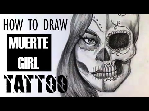 How to Draw Day of the Dead Girl - Skull Tattoo - Skull Drawings