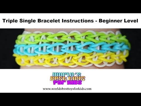 Rainbow Loom Rubber Band Refill – Triple Single Bracelet Instructions