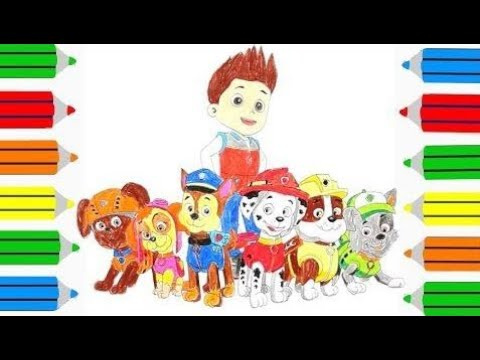 Paw Patrol Coloring Book Pages Chase Ryder Marshall Rubble Skye Zuma Rocky |Colouring Video for kid