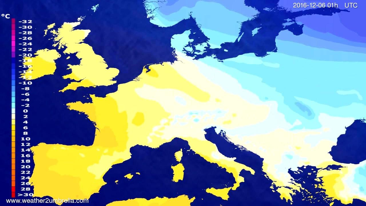 Temperature forecast Europe 2016-12-03
