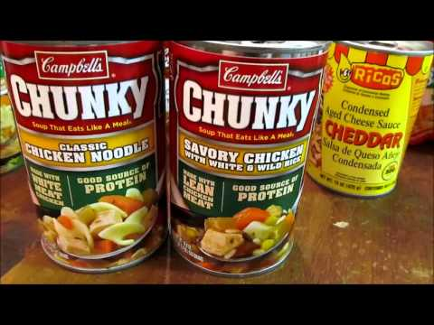 canned food - http://www.survivalistboards.com/showthread.php?t=153231 Some survival stocks my wife and I picked up - soup, canned foods and dried beans.