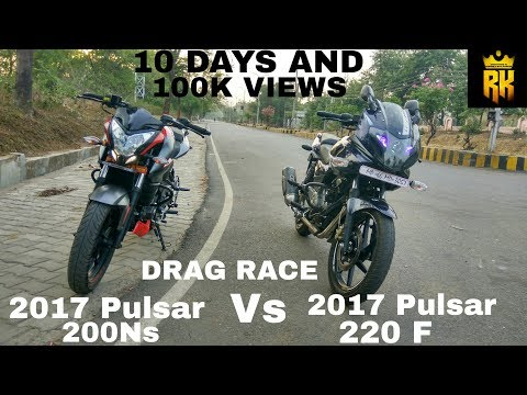 Video 2017 Pulsar 200Ns  Vs 2017 Pulsar 220 F  BS4 ( DRAG RACE ) Walk Around And Exhaust Note: download in MP3, 3GP, MP4, WEBM, AVI, FLV January 2017