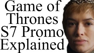 What does the new Game of Thrones Season 7 Promo tell us about the future and past of Jon Snow, Daenerys Targaryen and Cersei Lannister?Scant little, honestly. But the HYPE tho!This video contains spoilers for Game of Thrones up to Season 6 and Book 5.Subscribe: http://bit.ly/1NtFJufFacebook: https://www.facebook.com/pages/Alt-Shift-X/300119650155615Twitter: https://twitter.com/AltShiftXTumblr: http://altshiftx.tumblr.com/Patreon: https://www.patreon.com/AltShiftXAlt Shift ZZZ: https://www.youtube.com/AltShiftZZZAlt Schwift X: https://www.youtube.com/AltSchwiftXBuy A Game of Thrones (ASOIAF Book 1): http://amzn.to/292JmwyBuy ASOIAF Books 1-5: http://amzn.to/2970vVuBuy The World of Ice and Fire: http://amzn.to/2j3KggtCreated with Adobe After Effects and a Blue Yeti USB microphone.Images and video from Game of Thrones are the property of their creators, used here under fair use.Art by Zippo514: http://zippo514.deviantart.com/Errata:1:59: That's not Wun Wun's eye. It's the Night King: http://i.imgur.com/H5wjHkz.pngThanks to the following Patrons: Jason A. Diegmueller, Reverend Xandria, @MrFifaSA, Cameron Weiss, @Vineyarddawg, Eric Louis-Dreyfus, Jason Rattray, Cynbobby Joe, Kate Lyons, Ryan Steele, Michael Appell, Thee Stevie Franchise, Matthew Elisha Williams, Otter, David Howe, Fallon Mail, Cregg Riley, Sean Ludtke, Chris Cole, LightCraft Miniature Studios, Jake Burling, Fred Petty, Chris Amolsch.