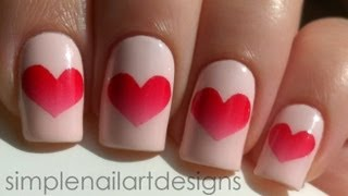 Valentine's Day Heart Nail Art Tutorial - YouTube
