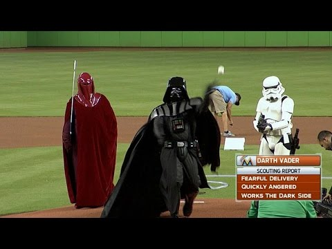 Darth Vader throws out the first pitch
