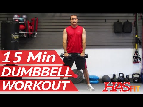 HASfit 15 Minute Dumbbell Workout Routine – Dumbbells Exercises for Strength – Training Work Out