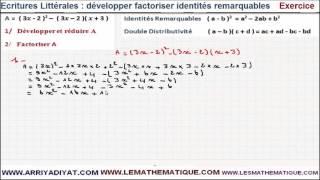 Maths 3ème - Écritures Littérales développer factoriser identités remarquables Exercice 7