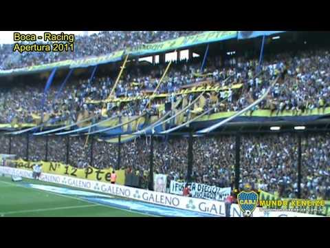Racing botón! Con el machete en la mano / Apertura 2011 Boca Racing - La 12 - Boca Juniors - Argentina - América del Sur