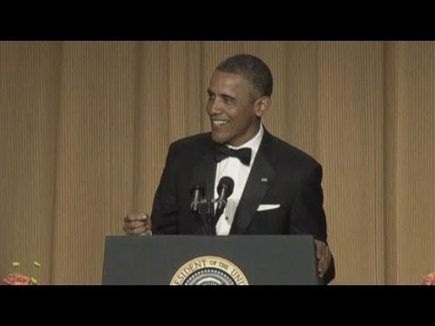 Funny man: Obama cracks jokes at the White House Correspondents' Dinner