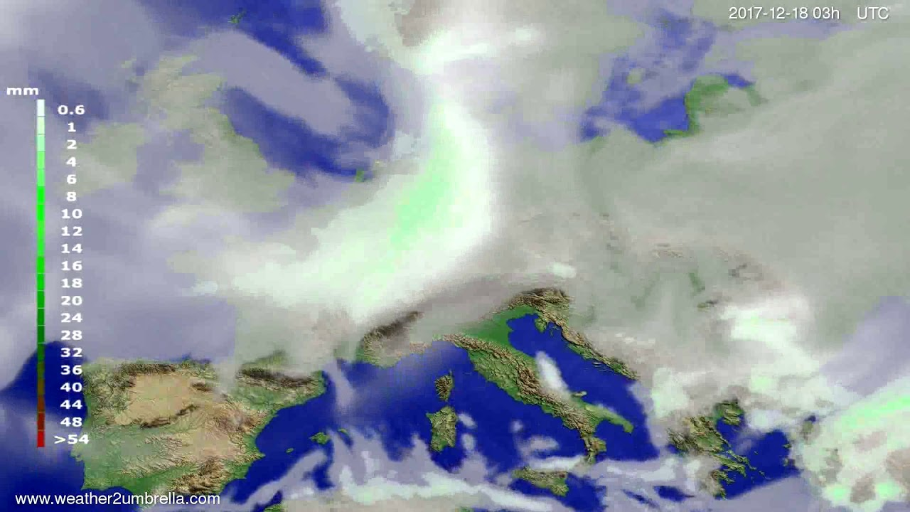Precipitation forecast Europe 2017-12-15
