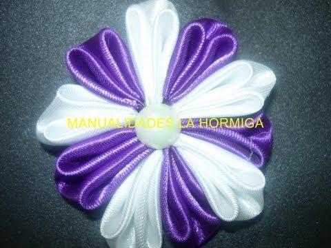 Flores kanzashi-  flores en cinta  video 129