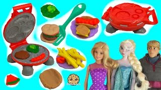 Barbie is having a BBQ party and Disney Frozen dolls Queen Elsa, Princess Anna and Kristoff are going. Let's get cooking some fake food with Playdoh Burger B...