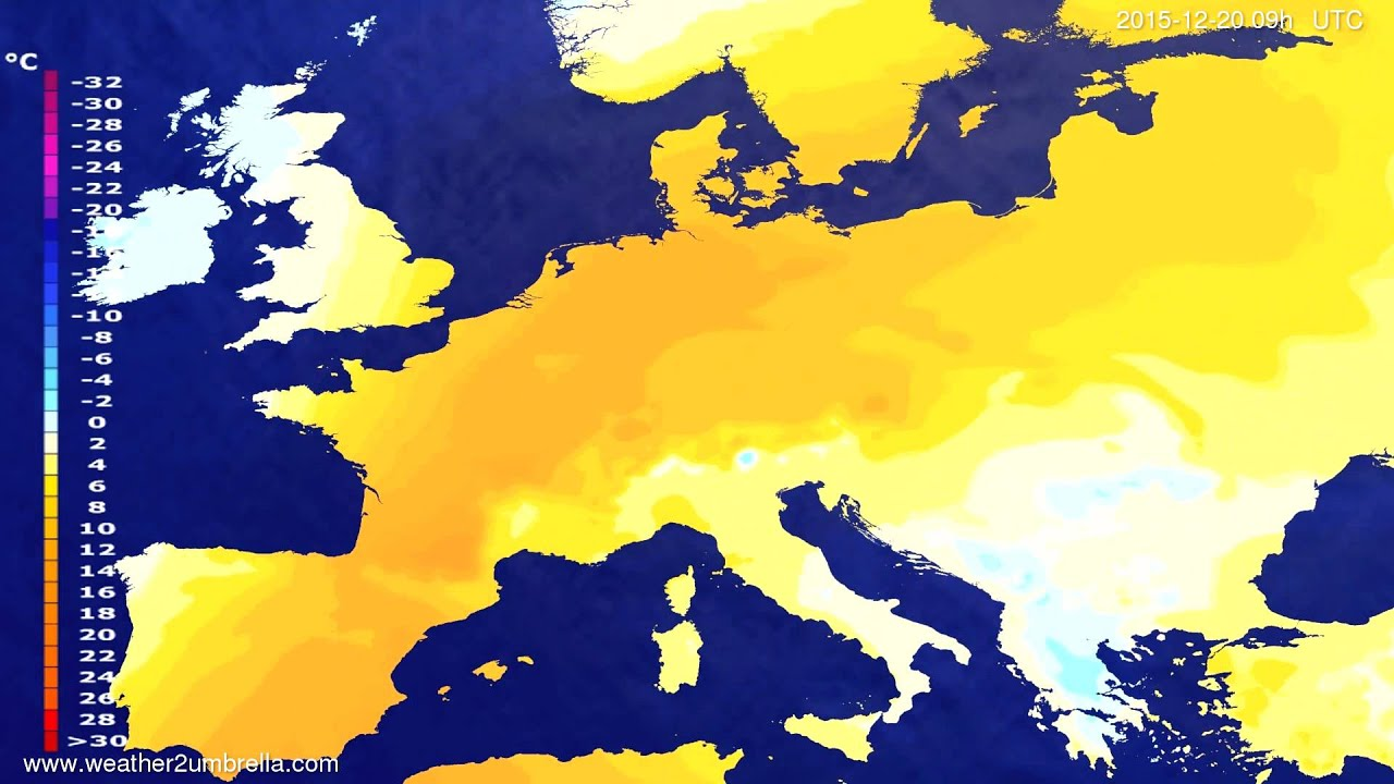 Temperature forecast Europe 2015-12-16