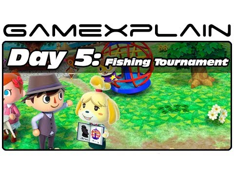 3ds - http://www.GameXplain.com In day five of our Animal Crossing: New Leaf video journal, we trip around town to pay off our house and participate in the fishing...