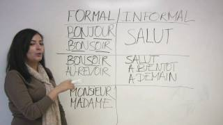 In this beginner French lesson, Sonia teaches us how to say hello and goodbye, both in formal and informal contexts. Presented by Diplomat Language School, in Toronto, Canada.