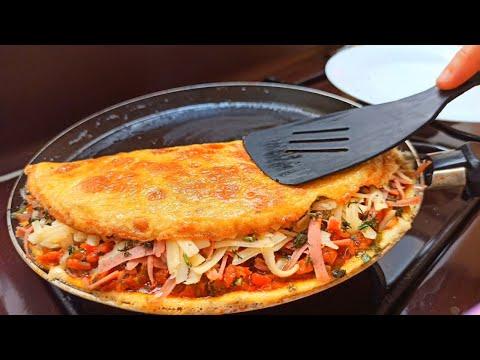Recette Dîner à la poêle - Vite Fait et Bien Fait !👌10 Min Sandwich Recipe 😋(eggs, onion ,cheese)