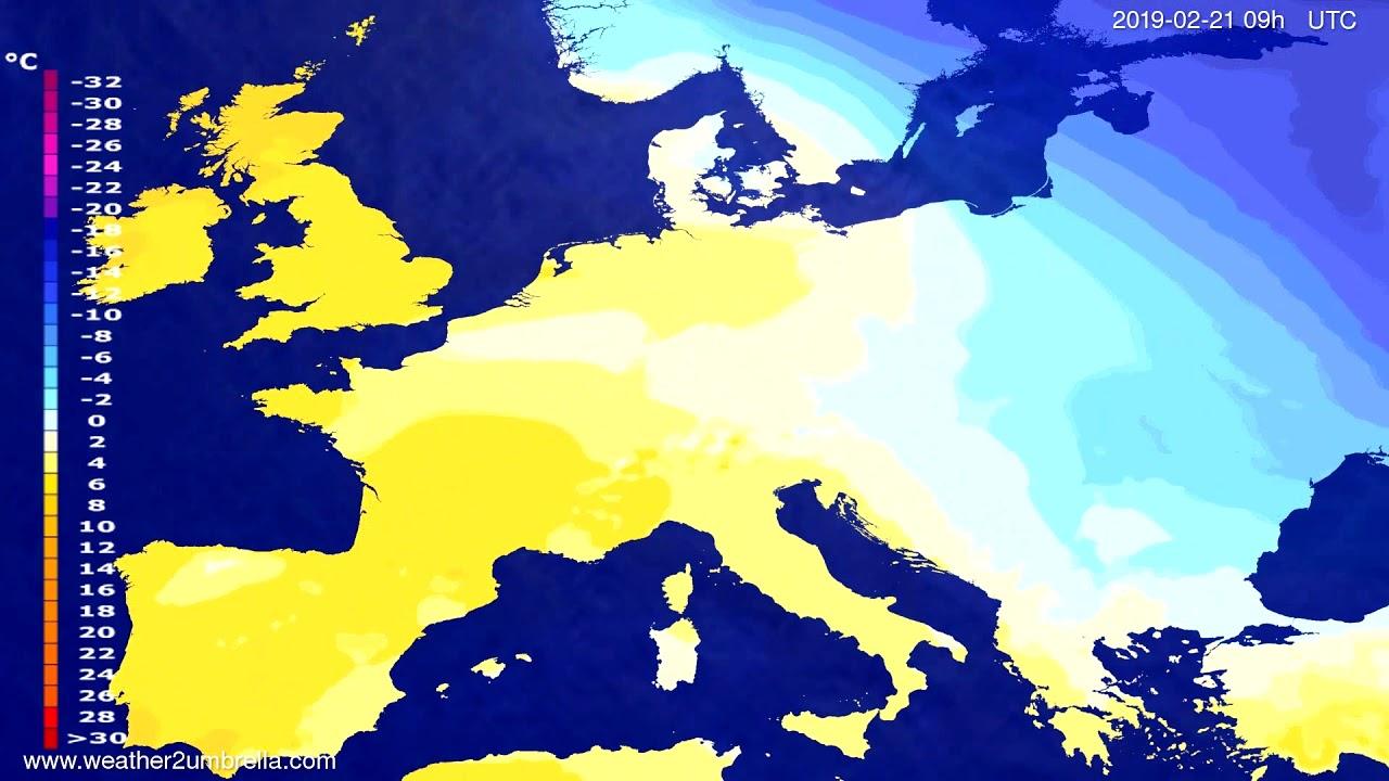 #Weather_Forecast// Temperature forecast Europe 2019-02-19