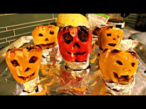 Jack O Lantern Stuffed Peppers - Halloween Recipe Edition