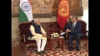 The Prime Minister, Shri Narendra Modi meets the President of Kyrgyz Republic, Mr. Almazbek Atambayev, at Ala-Archa State...