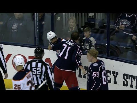 Oilers' Khaira goes toe-to-toe with Blue Jackets' Foligno in spirited tilt