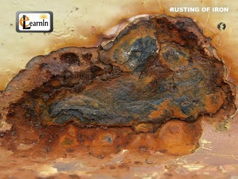 rust - RUSTING OF IRON A common change we are familiar with is rusting of iron. A piece of iron left in the open for some time acquires a layer of brownish substanc...