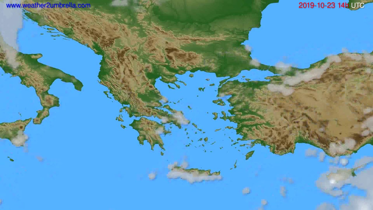 Cloud forecast Greece // modelrun: 12h UTC 2019-10-21