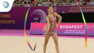 UEG Official – 33rd European Rhythmic Gymnastics Championships, Budapest (HUN), May 19-21, 2017. Ribbon Final : Katrin TASEVA (BUL), 17.150 (Difficulty : 8.400, Execution : 8.750). Rank : 2.Follow the European Union of Gymnastics on its channels to stay up to date with their latest news!