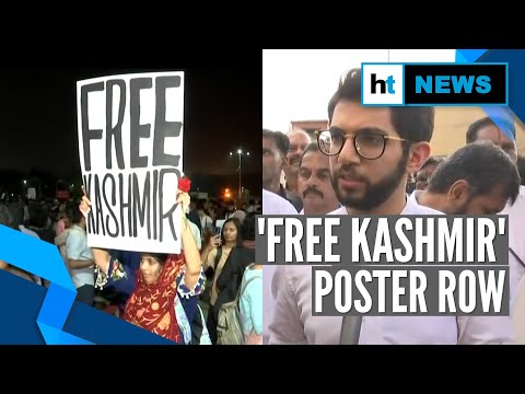 'Free Kashmir' poster at protest for JNU