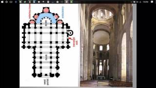 The lecture introduces the Roman era, and then focuses in on the required Romanesque church, Sainte Foy in Conques, France.