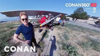 """Go on location with Conan at the airfield where he shot the """"Wonder Woman"""" cold open. Thx 2 AT&T"""