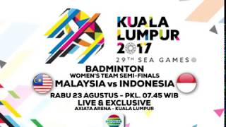 Saksikan para atlet bulu tangkis Indonesia berlaga di ajang Sea Games 2017 di Malaysia Hanya di Indosiar.Connect with INDOSIARWebsite : http://www.indosiar.com/Facebook : https://www.facebook.com/IndosiarID.TV Twitter : https://twitter.com/IndosiarID Instagram : @IndosiarBBM Channel : C0049B721