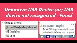 This video helps fixing USB driver issues:Device Descriptor Request FailedUnknown USB Deviceusb device not recognized the last usb device you connected to this computer malfunctioned and windows does not recognized it.windows has stopped this device because it has reported problems (code 43)A request for the usb descriptor failedUSB device not recognized New USB device not workingwireless bluetooth key board mouse modem router speaker headset pen drive dongle portable hard disc not working.Try reconnecting the device if windows still does not recognize it your device may not be working properlyport reset failedhow to fix