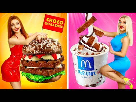 Epic REAL vs CHOCOLATE Food Challenge || Edible Headphones and Giant Chocolate Burger by RATATA BOOM
