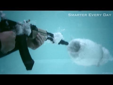 Watch - In which Destin uses an AK-47 to teach you the Physics of cavitation. Tweet this: http://bit.ly/AK47inPool Post to Facebook: http://bit.ly/AK47Pool http://tw...