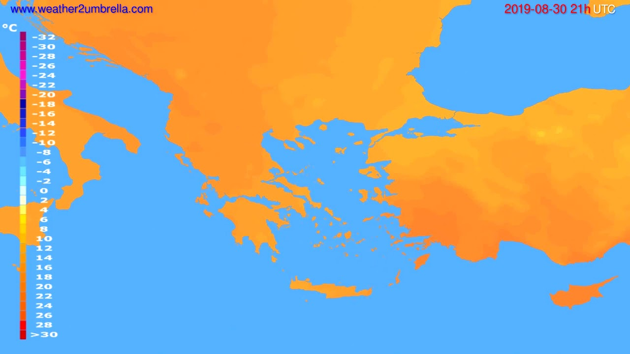 Temperature forecast Greece // modelrun: 00h UTC 2019-08-29