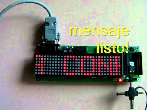 CONTROL REMOTO POR PUERTO SERIAL RELOJ DIGITAL DE LEDS PANEL MATRIZ 7X30 ANUNCIO LUMINOSO