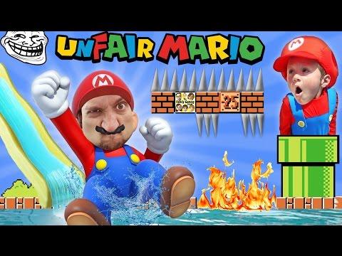 UNFAIR MARIO!  IMPOSSIBLE GAME? w/ FGTEEV Duddy & Chase (Super Mario Bros Fun Gameplay) (видео)