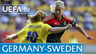 Watch goals from the previous five times that Sweden have met Germany at UEFA Women's EURO, with the Germans coming out on top on each occasion.--Subscribe: http://www.youtube.com/subscription_center?add_user=uefaFacebook: https://www.facebook.com/uefacomTwitter: https://twitter.com/UEFAcomG+: https://plus.google.com/+UEFAcomhttp://uefa.com