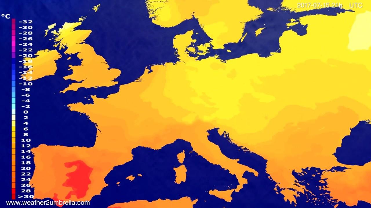 Temperature forecast Europe 2017-07-12