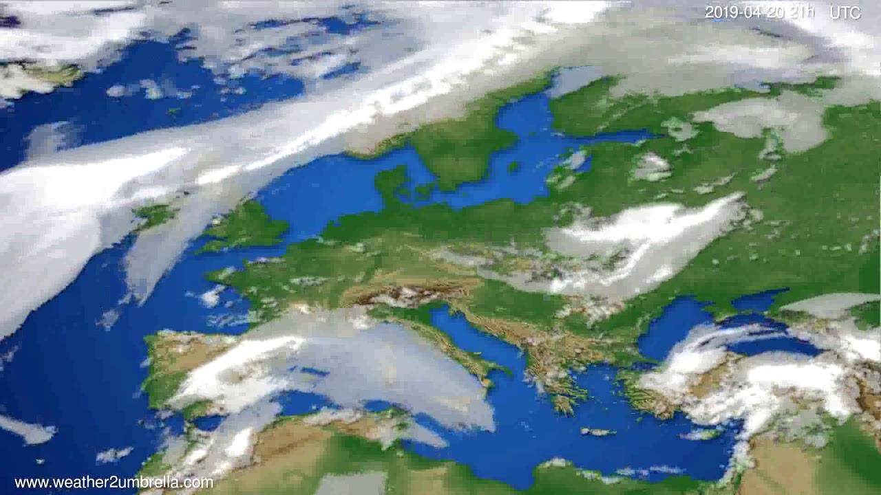 Cloud forecast Europe // modelrun: 00h UTC 2019-04-19
