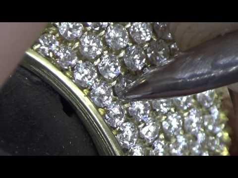 186 Diamond setting Yellow Gold Micro Pavé Overlay ring 1,30mm stones van dooren diamonds