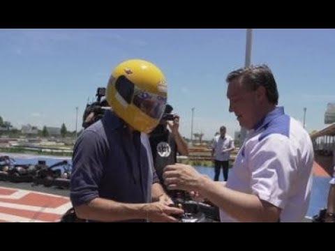 Governador colocou o capacete e pisou fundo na pista de kart
