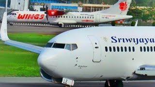 Video Lihat Bagaimana Proses Take Off  Dua Pesawat Boeing 737 Sriwijaya Air dan ATR 72 Wings Air MP3, 3GP, MP4, WEBM, AVI, FLV Desember 2018